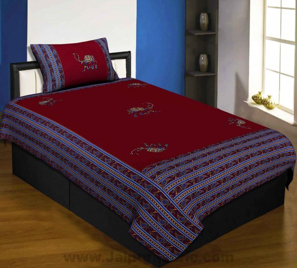 Applique Maroon Camel Jaipuri  Hand Made Embroidery Patch Work Single Bedsheet