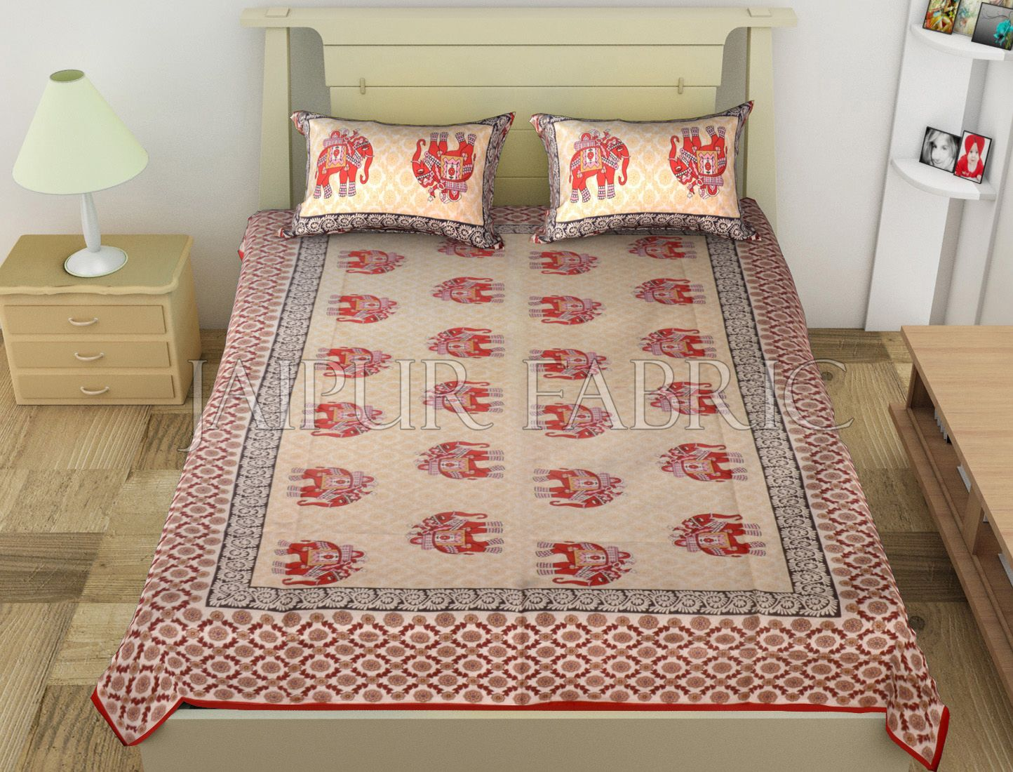 Red Big Size Elephant Printed Cotton Single Bed Sheet