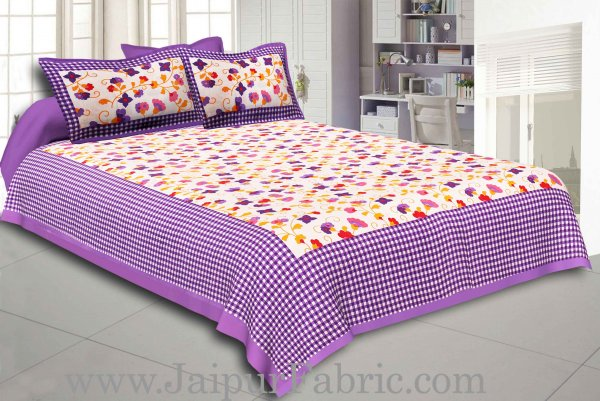 Purple Border jaipuri design floral print Cotton Double Bedsheet with Pillow Cover
