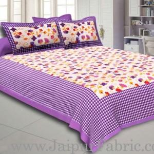 Purple Border jaipuri design floral print Cotton Double Bedsheet with Pillow Cover