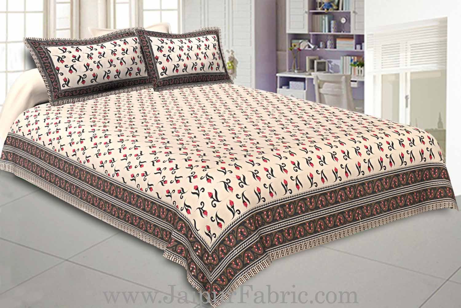 Double Bedsheet Light  Brown Border Small Floral Print With Two Pillow Cover