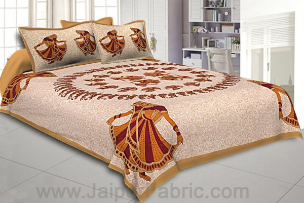 Double Bedsheet Brown Rajasthani Gujri Dance Cotton