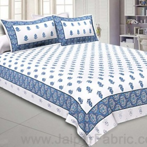 Double Bedsheet  Light Blue Small Booti Print