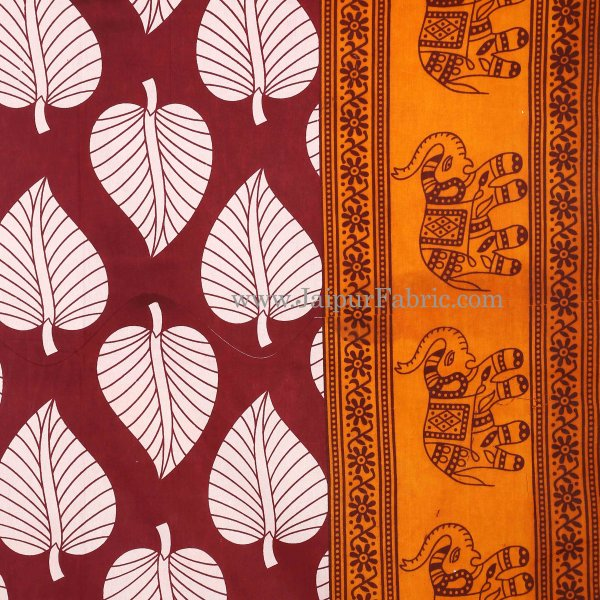 Yellow  Border With  Maroon  Paan Pattern Cotton Double Bed Sheet