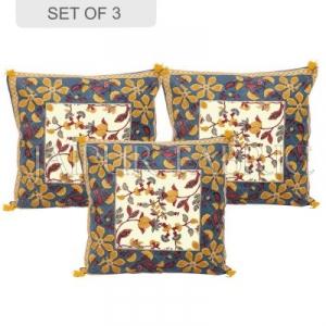 Gray Base Floral Print Cotton Cushion Cover