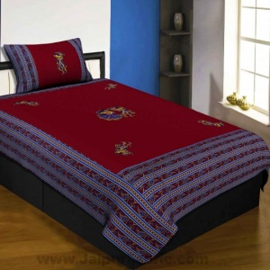 Applique Maroon Chang Dance Jaipuri  Hand Made Embroidery Patch Work Single Bedsheet