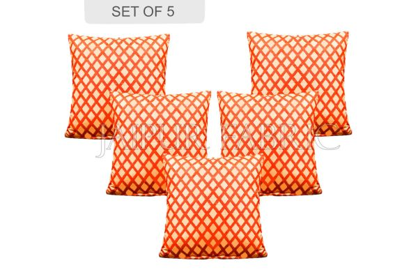 Peach Color Orange Square Print Cushion Cover