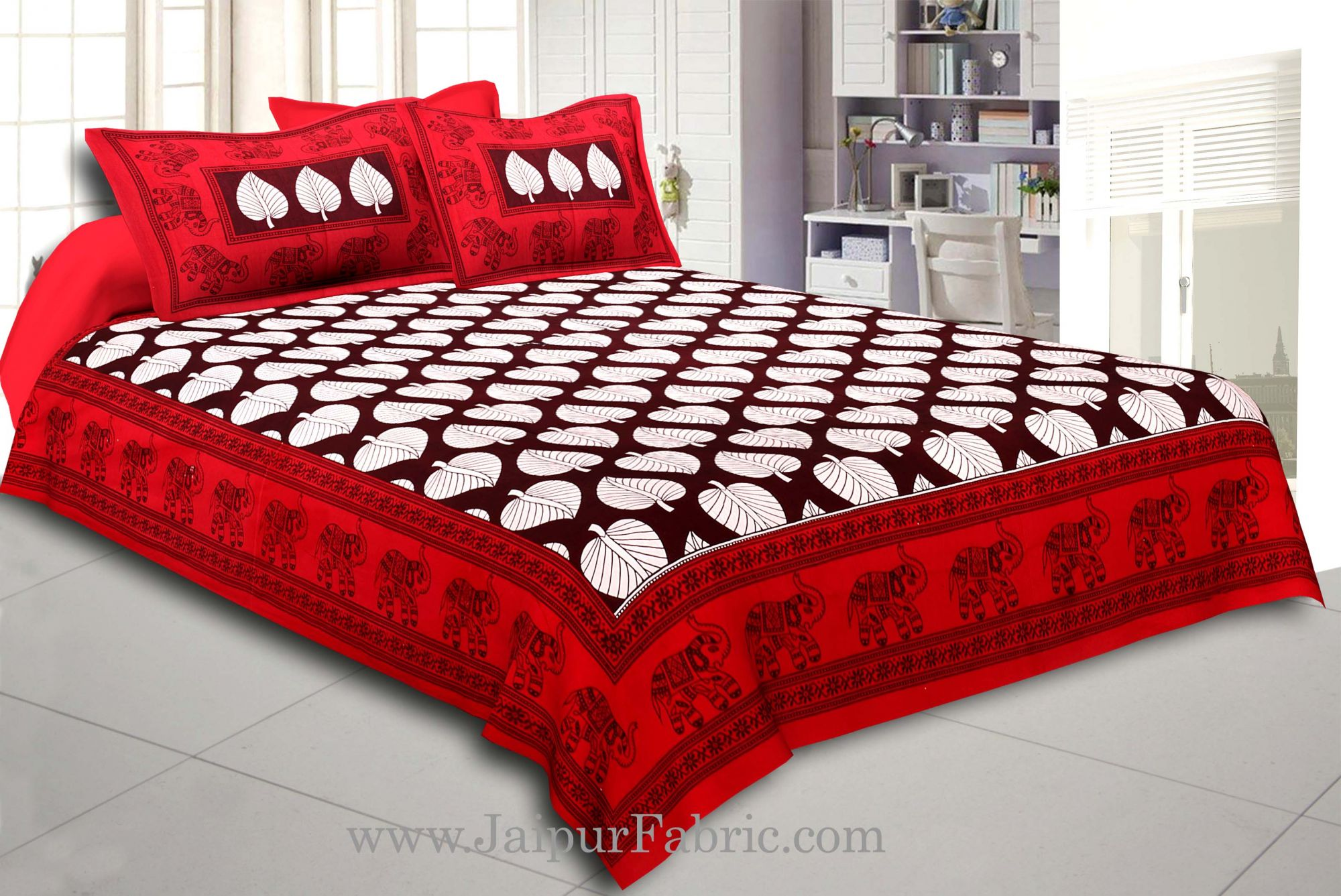 Maroon Border With  Coffee Base Paan Pattern Cotton Double Bed Sheet