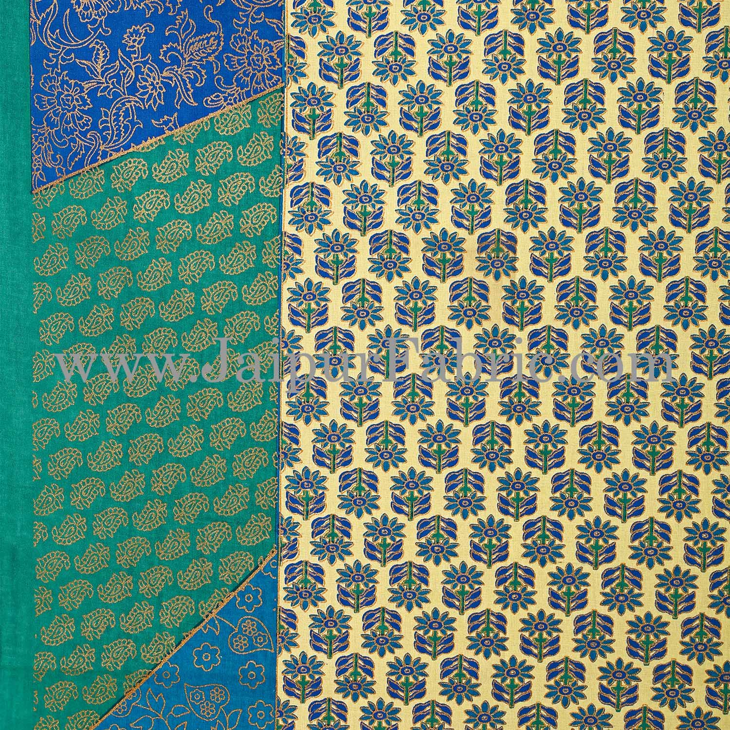 Green Border With Golden Print   Central Square Floral Print Super Fine Cotton Diwan Set