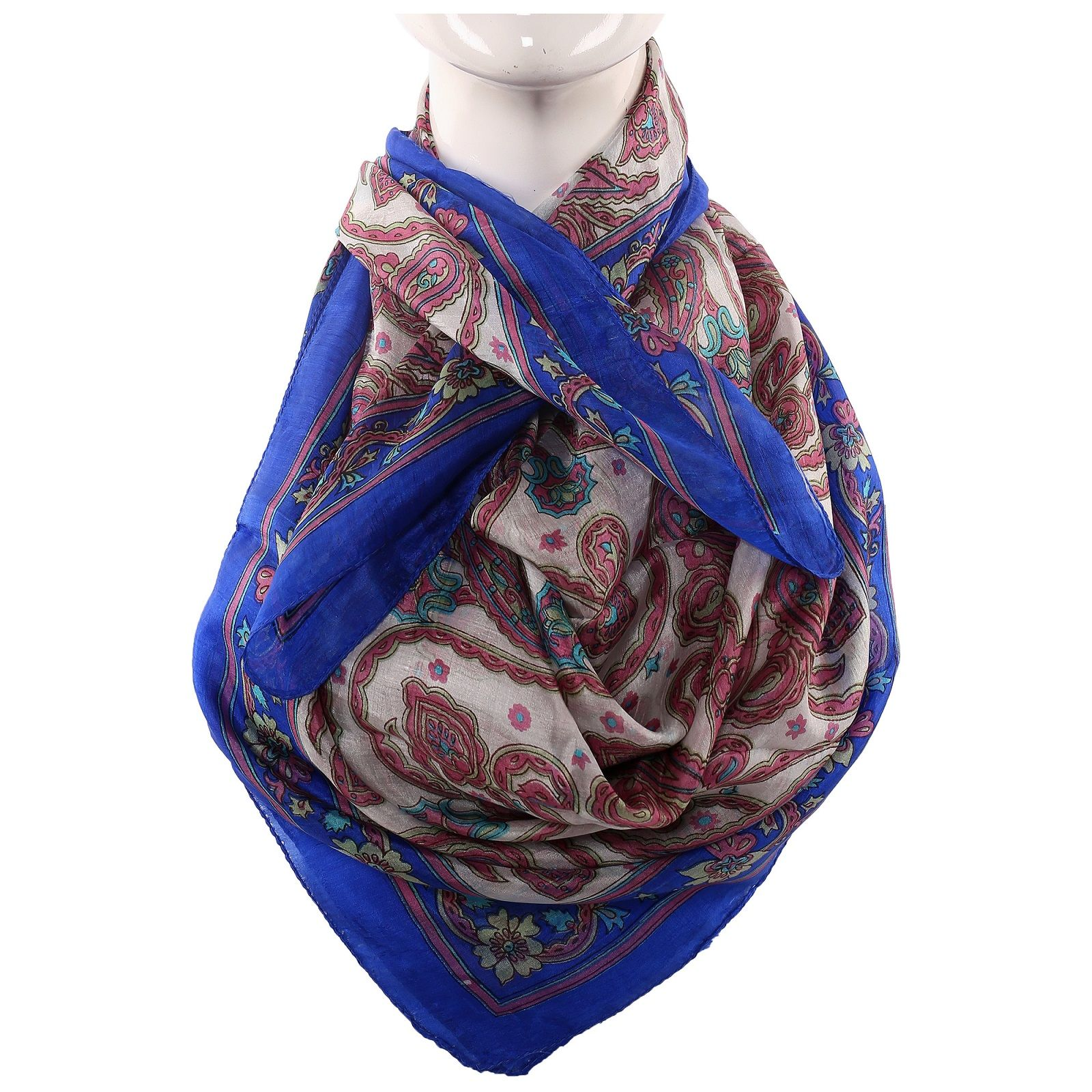 Silk Scarf Royal Blue Paisley Print