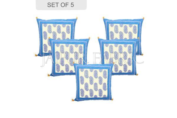 Blue Border Keri Block Print Cotton Cushion Cover