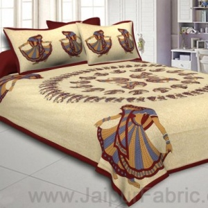 Double Bedsheet Maroon Rajasthani Gujri Dance Cotton