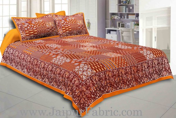 Yellow Border Coffe Base Checks Design Cotton Double Bedsheet With Pillow Cover