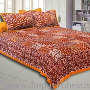 Yellow Border Coffe Base Checks Design Cotton Double Bedsheet With Pillow Cover