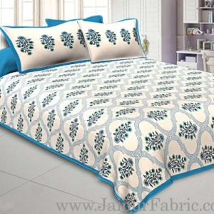 King Size Bedsheet Fine Cotton Circle Floral Print With Two Pillow Cover