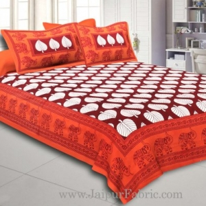Orange  Border With  Red Base Paan Pattern Cotton Double Bed Sheet