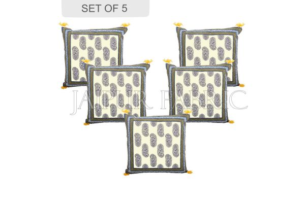 Moss Color Border Keri Block Print Cotton Cushion Cover