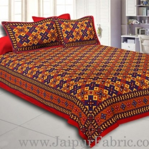 Maroon Border Boota And Lehariya Lining Cotton Double Bed Sheet
