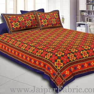 Blue Border Boota And Lehariya Lining Cotton Double Bed Sheet