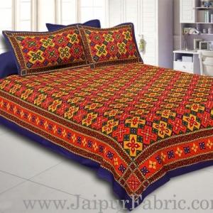 Blue Border Boota And Lehariya Lining Cotton Double Bed Sheet