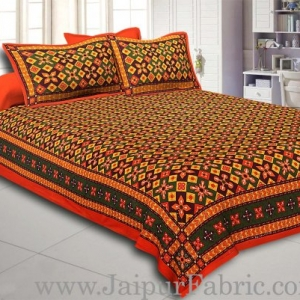 Orange Border Boota And Lehariya Lining Cotton Double Bed Sheet