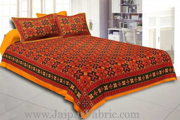 Yellow Border Boota And Lehariya Lining Cotton Double Bed Sheet