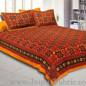 Yellow Border Boota And Lehariya Lining Cotton Double Bed Sheet