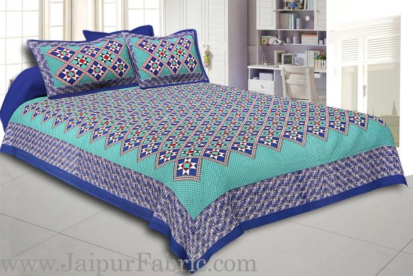Blue Border Sea Green Base Designer Check Pattern Cotton Double Bed Sheet