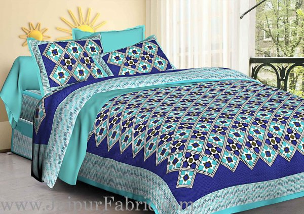 Sea Green Border Blue  Base Designer Check Pattern Cotton Double Bed Sheet
