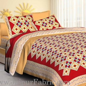 Mustard Border Red   Base Designer Check Pattern Cotton Double Bed Sheet