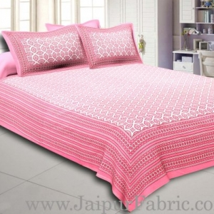 Pink Border Cream Base Bagru Pattern Cotton Double Bed Sheet