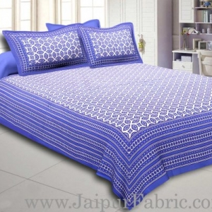Blue Border Cream Base Bagru Pattern Cotton Double Bed Sheet