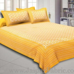 Yellow Border Cream Base Bagru Pattern Cotton Double Bed Sheet