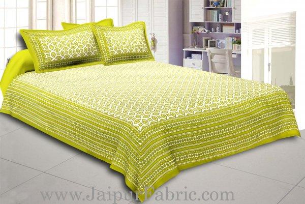 Green Border Cream Base Bagru Pattern Cotton Double Bed Sheet