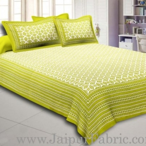 Green Border Cream Base Bagru Pattern Cotton Double Bed Sheet