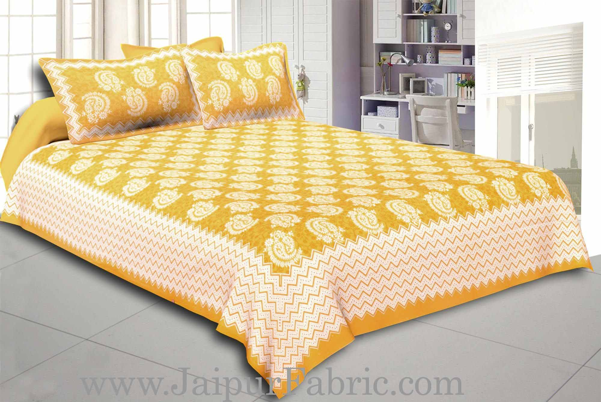 Yellow  Border With Zig-Zig Lining Twin Kerry Pattern Cotton Double Bed Sheet