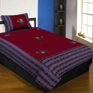 Applique Maroon Elephant Jaipuri  Hand Made Embroidery Patch Work Single Bedsheet