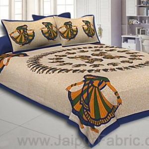 Double Bedsheet Blue Rajasthani Gujri Dance Cotton
