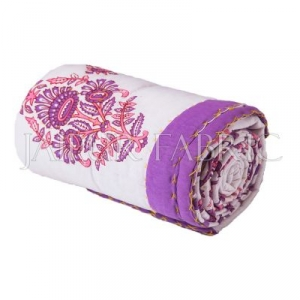 Pink Purple Jaipuri Print Cotton AC Quilt Single Bed Quilt