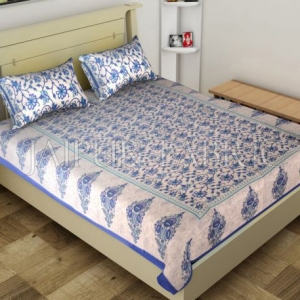 Blue Border Anthemion Pattern Cotton Single Bed Sheet
