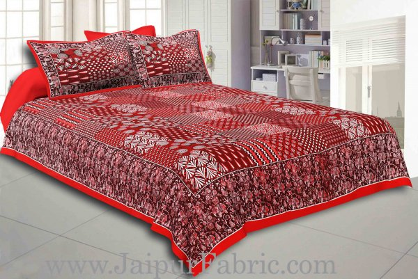 Maroon Border Dark Coffee Base Checks Design Cotton Double Bedsheet With Pillow Cover
