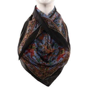 Silk Scarf Black Border Animal Print