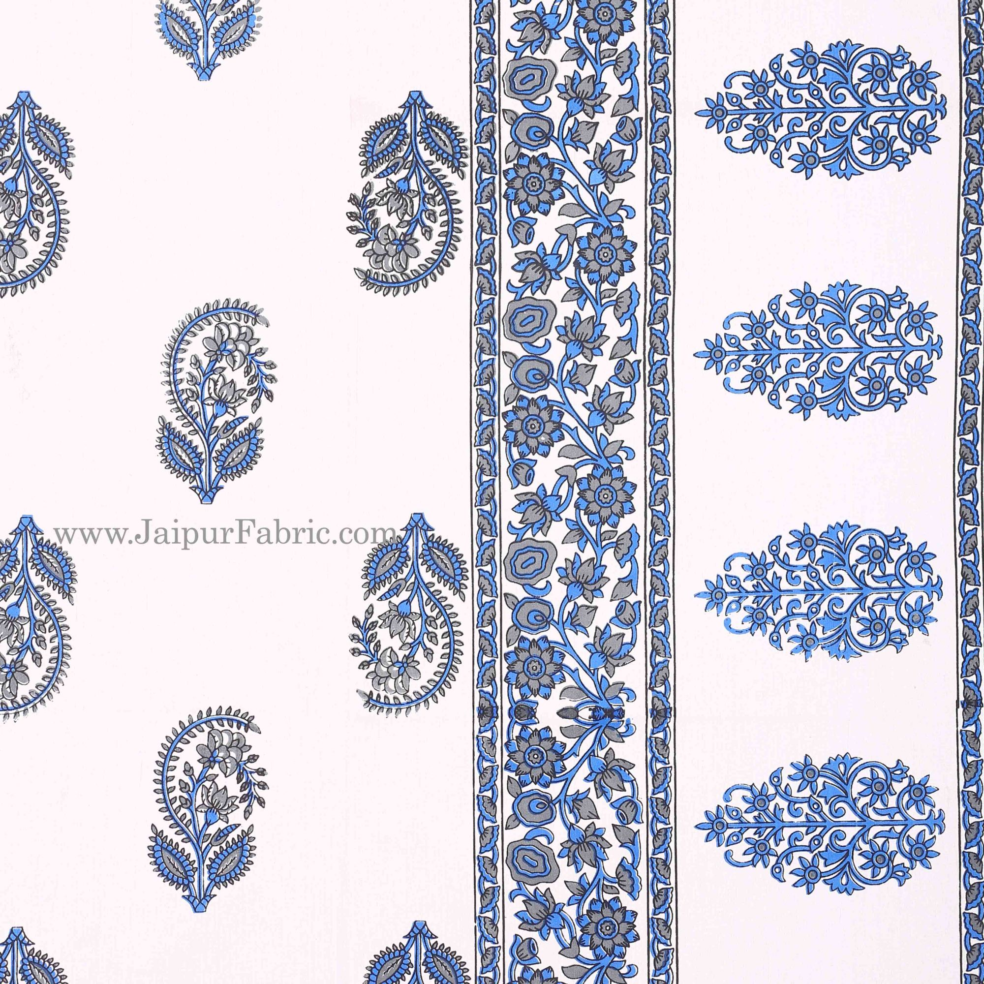 Blue Border White Base Gamla And Booti Print Cotton Double Bed Sheet