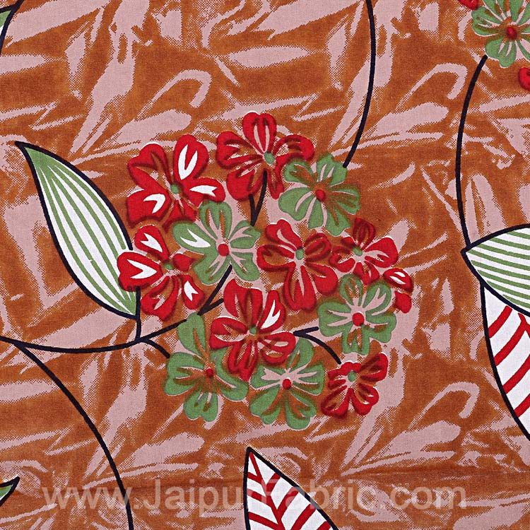 Brown Flowery Double Bedsheet