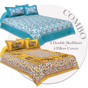 COMBO351 Beautiful Multicolor 2 Bedsheet + 4 Pillow Cover