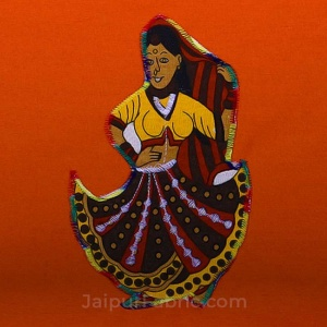 Applique Orange Rajasthani Dance Jaipuri  Hand Made Embroidery Patch Work Double Bedsheet