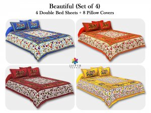 COMBO101 Beautiful Multicolor 4 Bedsheet + 8 Pillow Cover