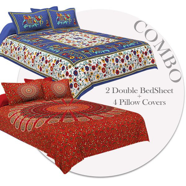 COMBO354 Beautiful Multicolor 2 Bedsheet + 4 Pillow Cover