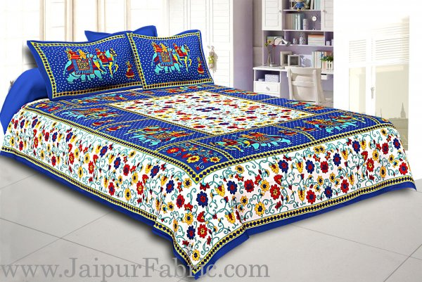 Blue  Border Big Elephant Printed Cotton Double Bed Sheet
