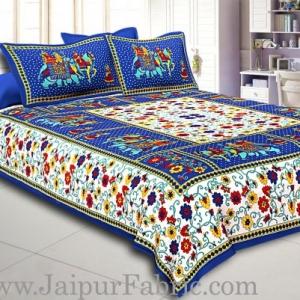 Blue  Border Big Elephant Printed Cotton Double Bed Sheet